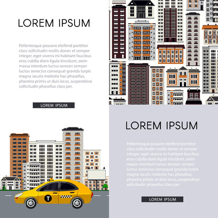 Urban vertical banners set with city skyline with yellow taxi car riding on road on cityscape background with skyscrapers and various multi storey houses on white. Vector illustration. Çizim