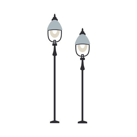 Street lanterns with one lamp set of streetlamps of various height in flat design isolated on white background. Standing lamppost - outdoors stationary streetlight structure. Vector illustration. Illustration