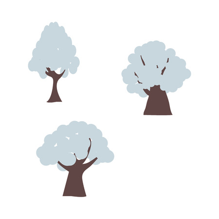 Winter trees in snow set with different shapes of snowdrift on branches in flat cartoon style isolated on white background.