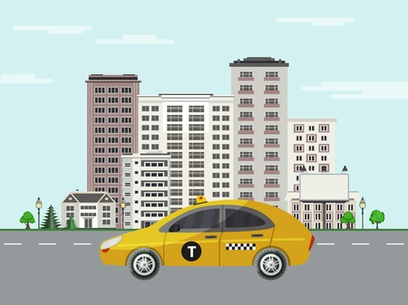 Cityscape poster with yellow taxi car on background of apartment, office building, skyscraper house. City modern architecture design template. Vector flat illustration Illustration