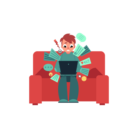 Puzzled young man, teenager in casual clothing sitting at sofa holding laptop computer with various application icon.