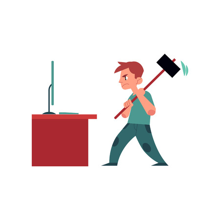 Angry man holding big hummer going to break desktop computer monitor. Illustration