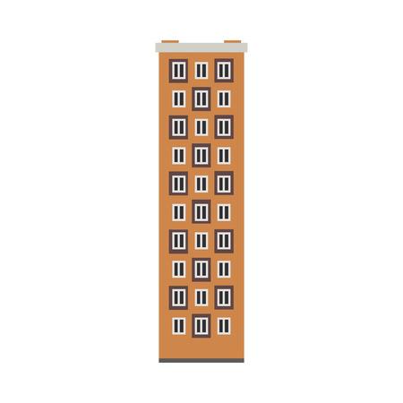 Apartment building house exterior icon. City modern architecture, dormitory area object. Dwelling house, residental building skyscraper. Cityscape design element. Vector flat illustration Ilustração