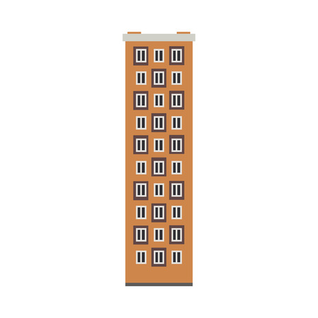 Apartment building house exterior icon. City modern architecture, dormitory area object. Dwelling house, residental building skyscraper. Cityscape design element. Vector flat illustration Illustration