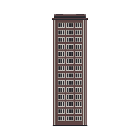 Apartment building house exterior icon. City modern architecture, dormitory area object. Dwelling house, residental building skyscraper. Cityscape design element. Vector flat illustration Иллюстрация