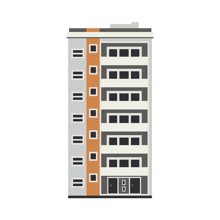 Apartment building house exterior icon. City modern architecture, dormitory area object. Dwelling house, residental building skyscraper. Cityscape design element. Vector flat illustration Vettoriali