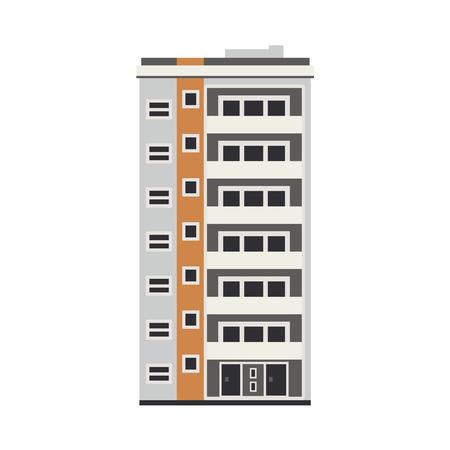 Appartement gebouw buitenkant huisje. Stad moderne architectuur, slaapzaal object. Woonhuis, woonwolkenkrabber. Stadsgezicht ontwerpelement. Vector platte illustratie