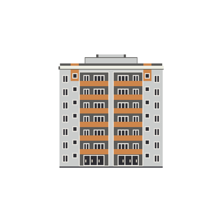 Apartment or office building house, mall exterior icon. City modern architecture, dormitory area object. Dwelling house, residental building. Cityscape design element. Vector flat illustration