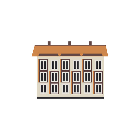 Apartment building house exterior icon. City modern architecture, dormitory area object. Dwelling house, residental building. Cityscape design element. Vector flat illustration Illustration