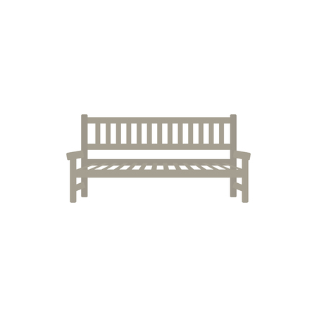 Flat street, park or garden wooden bench icon. Place to seat and rest, outdoor furniture object. Cityscape design object. Vector flat illustration isolated. Ilustração