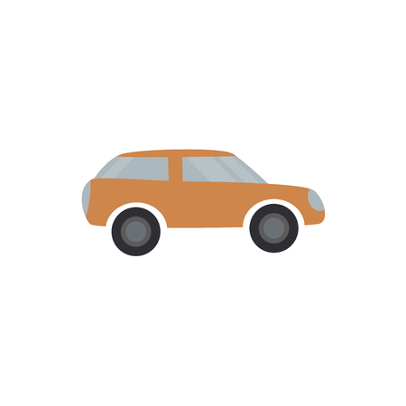 Light brown passenger car - flat design of automobile transport isolated on white background. Side view of vehicle with engine simple silhouette. Vector illustration.