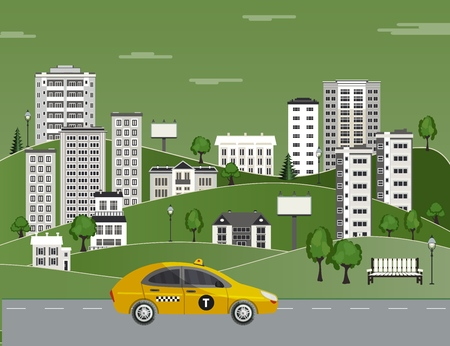 Cityscape poster with yellow taxi car on background of apartment, office building, skyscraper houses, green trees, parks. City modern architecture design template. Vector flat illustration