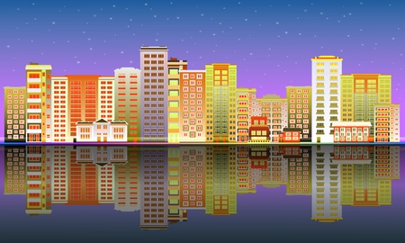Cityscape poster with purple colored apartment, office building, skyscraper houses on river bank reflections. City modern architecture background design template. Vector flat illustration
