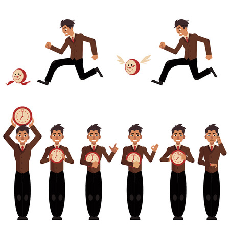Businessman and time management, deadline concept set. Male characters, manager office worker hurry, chasing for flying clock, holding watches in hands, calling phone, gestures. Vector illustration Stock Vector - 100174346