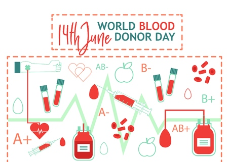 World blood donor day illustration with images of blood donation lifesaving and hospital equipment isolated on white background. Flat style vector for saving life concept.