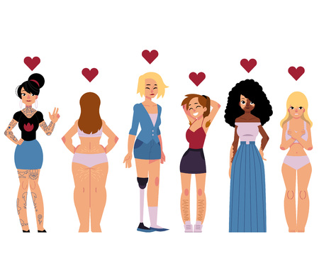Body positive concept set with young beautiful women with different features of appearance isolated on white background. Cartoon female characters loving their bodies, vector illustration.