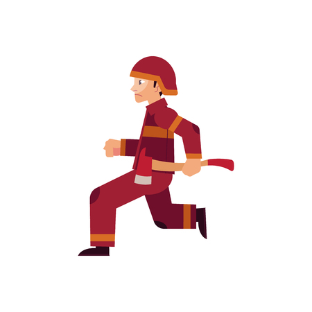 Fireman in protective uniform and helmet runs holding axe with red blade to put out fire and save people isolated on white background. Flat cartoon vector illustration of rescuer at work.