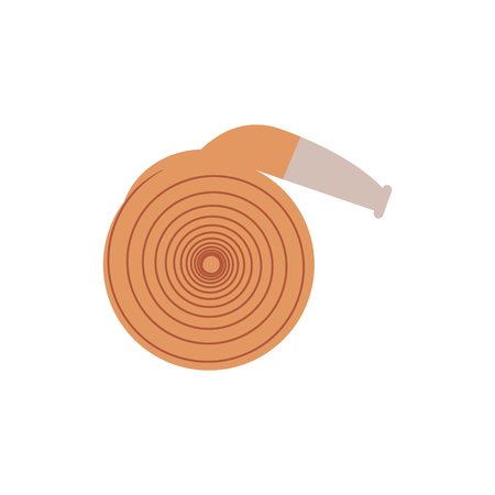 Rolled up fire hose - equipment for extinguishing with water isolated on white background. Flat vector illustration of element for firefighting and rescue service working. Illustration