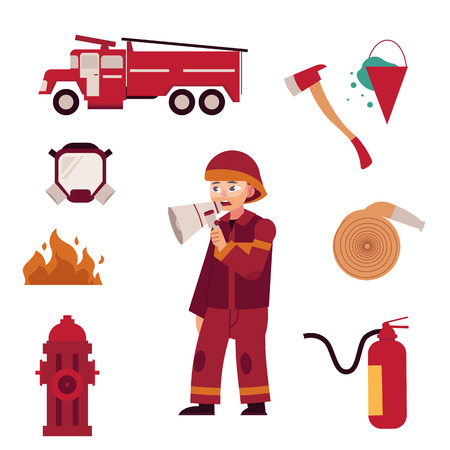 Fireman and extinguishing fire equipment set isolated on white background. Flat cartoon character of firefighter in red protection uniform and various working tools - rescue worker vector illustration