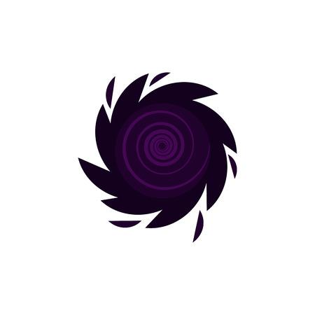 Black hole stylized icon. Dark cosmic element, fantastic apocalypse symbol. Astronomy, galaxy exploration design object. Vector flat illustration Illustration