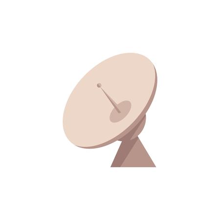 Antenne radar satellite avec icône d'antenne. Symbole de la technologie de communication cosmique. Télévision, Internet, outil de transmission de données sans fil. Récepteur de signal de diffusion. Illustration de plat vectorielle