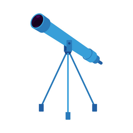 Blue telescope on tripod icon. Astronomy space discovery optical tool with magnification glass lens. Cosmos objects -planet, stars galaxy observation and search instrument. Vector flat illustration