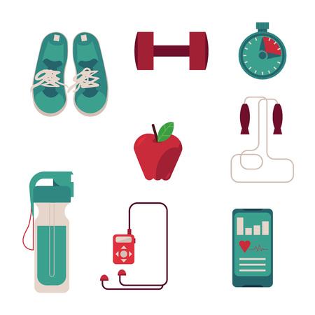 Varios equipos deportivos con ilustración plana de accesorios necesarios para fitness aislado sobre fondo blanco. Zapatillas de vector, pesas, cronómetro, botella con agua y gadget para deportista