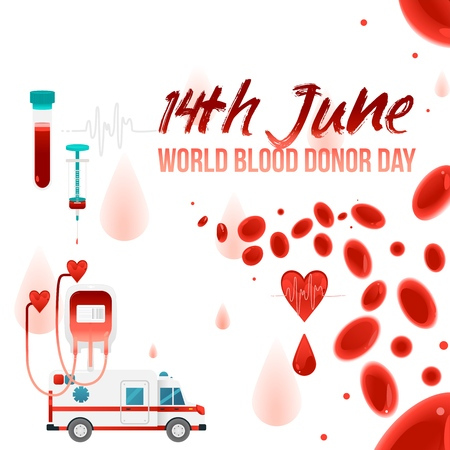 World blood donor day - 14th June banner with giving blood charity elements isolated on white background. Sign and symbols of heart, blood cells and medical devices, vector illustration.
