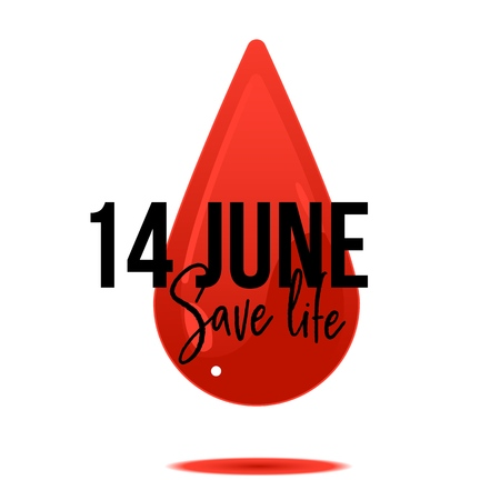14 June World Blood Donor Day banner with sign on white background with red cartoon blood drop. Isolated vector illustration of colorful element for giving blood charity.