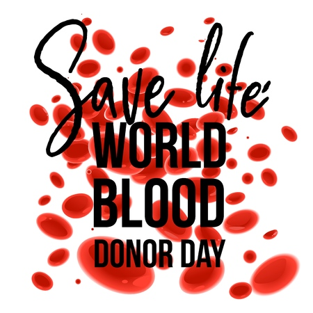 World Blood Donor Day banner with Save Life sign on white background with red cartoon blood cells. Isolated vector illustration of microscopic element for giving blood charity.  イラスト・ベクター素材