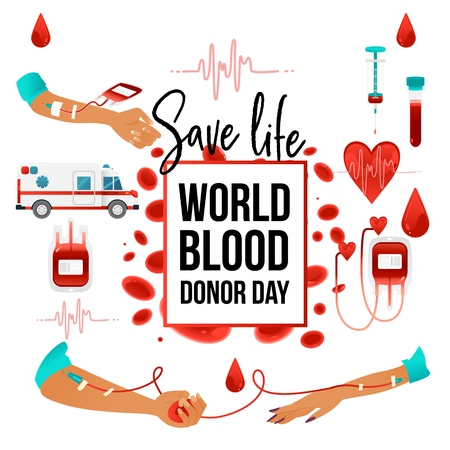 World blood donor day banner with giving blood charity elements - sign and symbols of heart, cells, red bloody container and medical devices isolated on white background. Vector illustration.