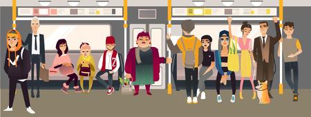 Cartoon underground subway passenger inside metro train scene. Men, women young and senior standing and sitting listening to music headphones, communicating. People in public transport vector concept.