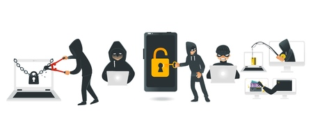 Cartoon hackers hacking devices set. Men in black brake chain of locked laptop by bolt cutter, stealing wallet by fishing rod, coding at computer, stealing money from smartphone. Vector illustration 免版税图像 - 100174487