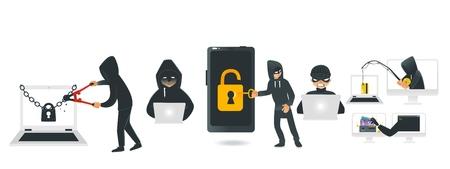 Conjunto de dispositivos de piratería de piratas informáticos de dibujos animados. Hombres con cadena de freno negra de computadora portátil bloqueada con cortador de pernos, robando billetera con caña de pescar, codificando en la computadora, robando dinero del teléfono inteligente. Ilustración vectorial