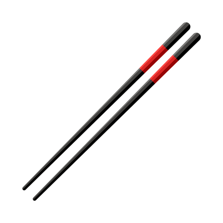 Pair of black wooden chopsticks with red lines isolated on white background. Realistic asian kitchen accessories for japanese, chinese or thai restaurant, vector illustration.