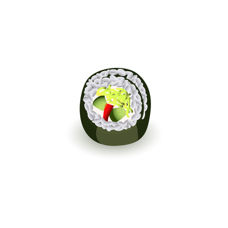 Sushi roll - fresh traditional japanese food isolated on white background. Realistic sushi piece, seafood meal for asian restaurant concept design. Vector illustration.
