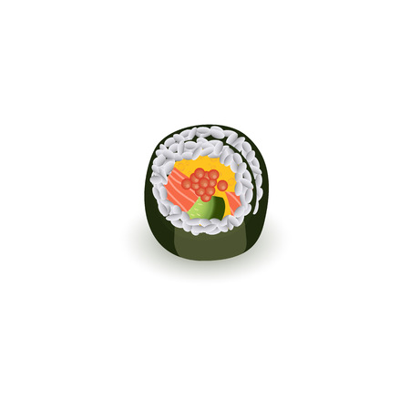Sushi roll isolated on white background - realistic traditional japanese food for asian restaurant concept design. Fresh sushi piece, vector illustration of seafood meal.