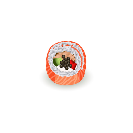 Sushi roll with fresh salmon isolated on white background - realistic vector illustration of piece of traditional japanese seafood for asian restaurant concept design. Illustration