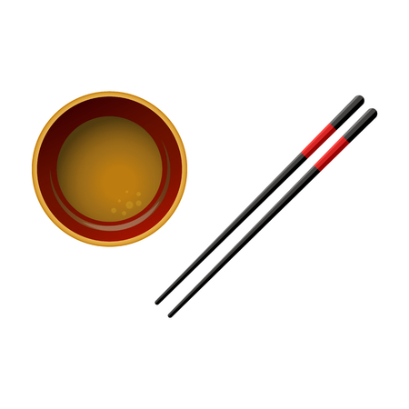 Pair of black wooden chopsticks with red lines and bowl with soy sauce isolated on white background. Realistic asian kitchen utensil for japanese, chinese or thai restaurant. Vector illustration.