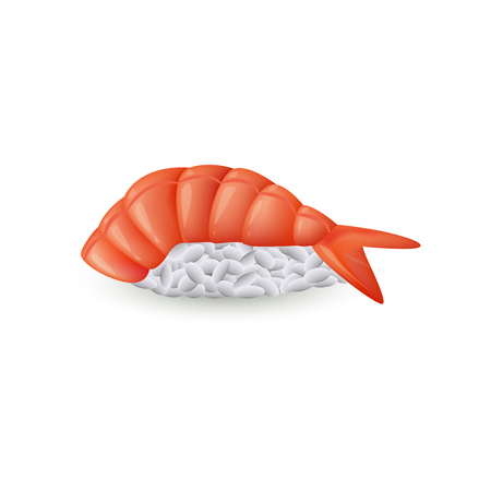 Sushi ebi nigiri with fresh shrimp isolated on white background - realistic vector illustration of piece of traditional japanese seafood for asian restaurant concept design. Illustration