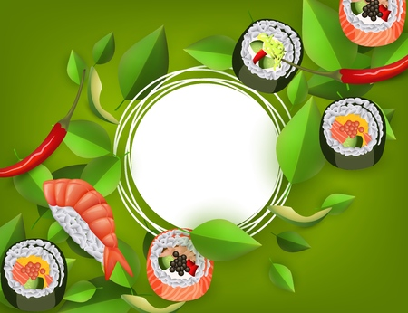 Sushi banner with rolls, shrimp nigiri, avocado and chili pepper isolated on green background with white empty space for text - japanese traditional seafood restaurant design. Vector illustration.