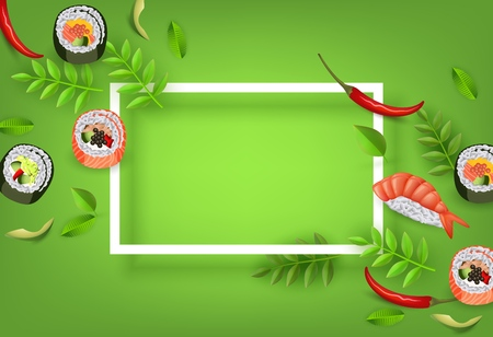 Japanese sushi banner with rolls, ebi nigiri, avocado and chili pepper isolated on gradient green background with copy space in white frame - asian traditional restaurant concept. Vector illustration. Illustration