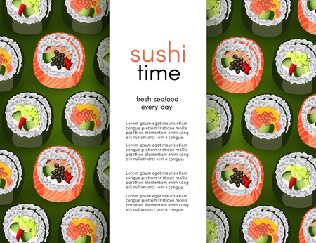 Sushi banner with fresh rolls pattern background and white vertical copy space. Realistic vector illustration for japanese traditional cultural seafood restaurant concept design.