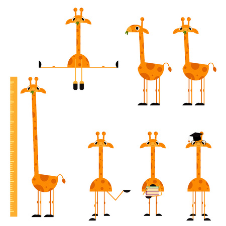 Cute giraffe characters set. Funny animals with long neck jumping, holding textbooks, standing in graduation cap, height scale, eating grass. Vector cartoon illustration isolated