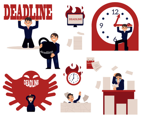 Deadline and time management concept elements set with overworked stressed businessman surrounded by piles of documents.
