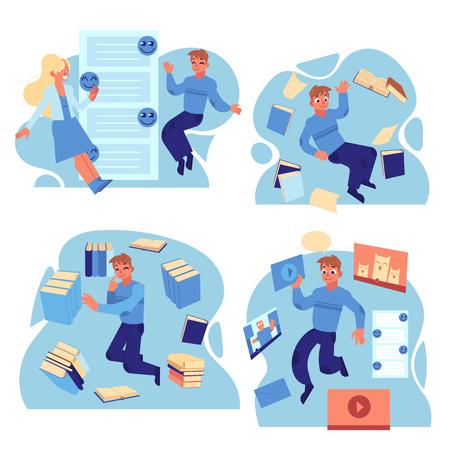 Mensen vliegen in de omgeving van informatiebronnen en berichten geplaatst op een witte achtergrond. Platte cartoon vectorillustratie van zelfverzekerde informatiegebruikers. Vector Illustratie