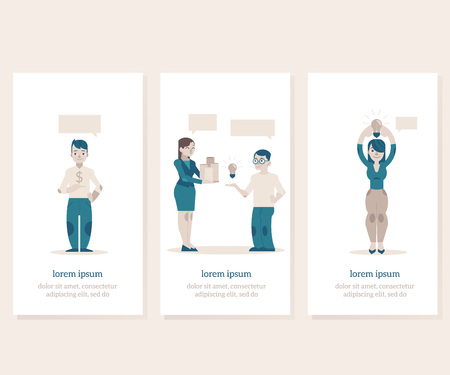 Financing new projects and startups vertical banners set with banker or investor holding dollars money and young creators having business ideas. Flat cartoon vector illustration. Ilustração