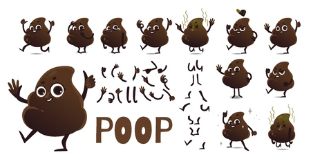 Poop cartoon character creation set with different emotions, body parts and gestures isolated on white background.