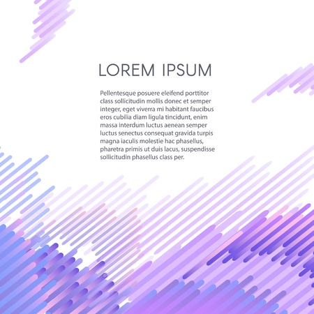Glitched geometric ultraviolet pixel mosaic on white background with copy space. Vector illustration of modern signal bug design effect with abstract shapes.