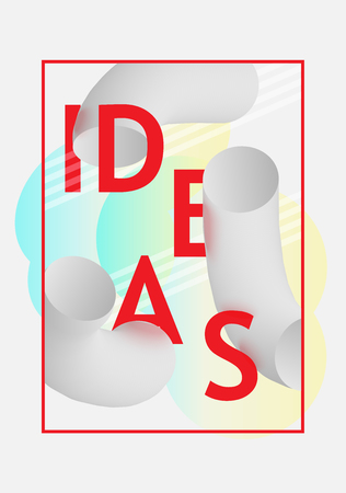 Idea text banner banner with thick curved black and white shapes and bright design sign on white background. For business or education card brochure. Vector illustration. 스톡 콘텐츠 - 100184096